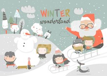 Happy Cute Kids Playing Winter Games With Santa Claus. Hello Winter