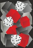 Fototapeta Do akwarium - composition with black, gray, red cubes and dice