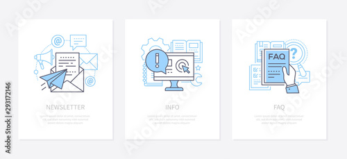 Foto Customer service - line design style icons set