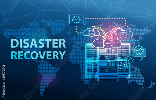 Foto  Disaster Recovery Cloud Server Data Loss Prevention Concept Background