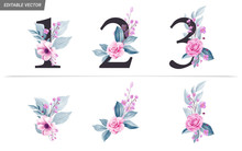 Watercolor Numbers With Flower...