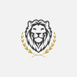 lion luxury logo icon template, elegant lion logo design illustration, lion head with crown logo, lion elegant symbol