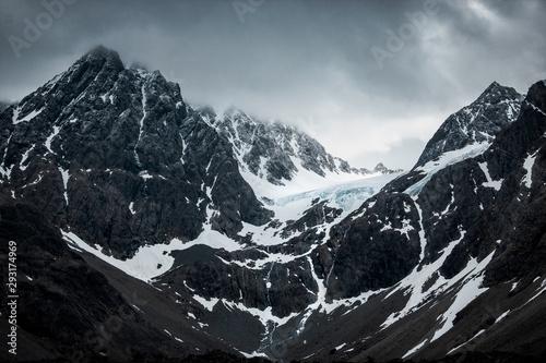 Glacier on top of a mountain in Lyngen Alps