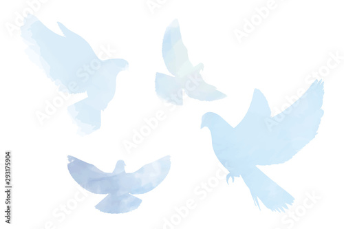 Fotografia Doves silhouettes in tender pastel blue colors, peace, spring, easter elements white isolated