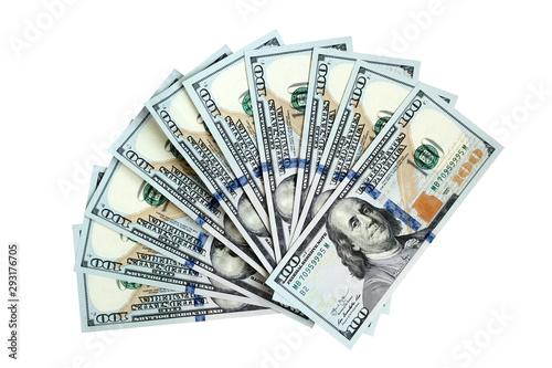 Fotomural Fan of one hundred dollar bills isolated on white background