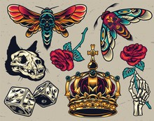 Vintage Colorful Tattoos Compo...