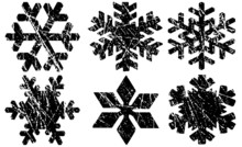 Grunge Textured Snowflakes Col...