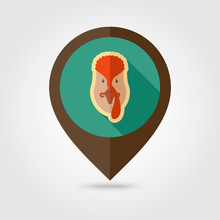 Turkey Flat Pin Map Icon. Anim...