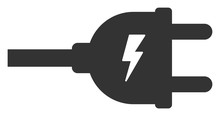 Vector Electric Plug Flat Icon...