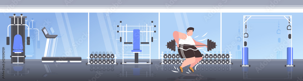 fat obese man lifting barbell overweight guy cardio training workout weight loss concept modern sport studio gym interior flat full length horizontal banner