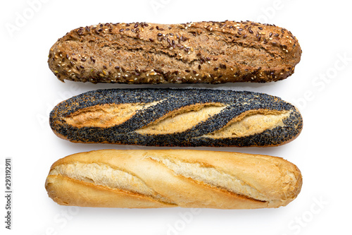 Fototapeta Three traditional baguettes isolated on white. Plain, whole wheat and poppy seed. Top view. obraz