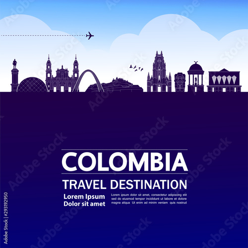 Colombia travel destination grand vector illustration.