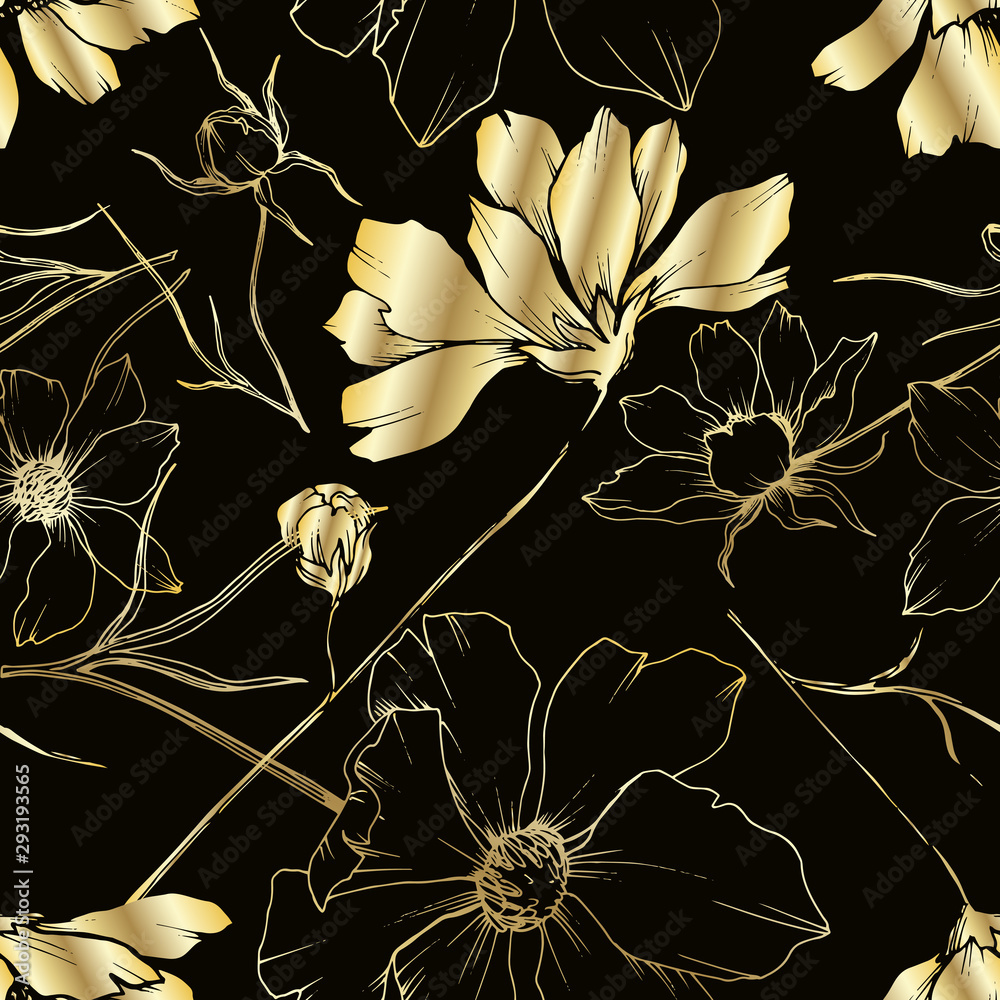 Fototapeta Vector Cosmos floral botanical flowers. Black and white engraved ink art. Seamless background pattern.
