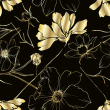 Vector Cosmos Floral Botanical Flowers. Black And White Engraved Ink Art. Seamless Background Pattern.