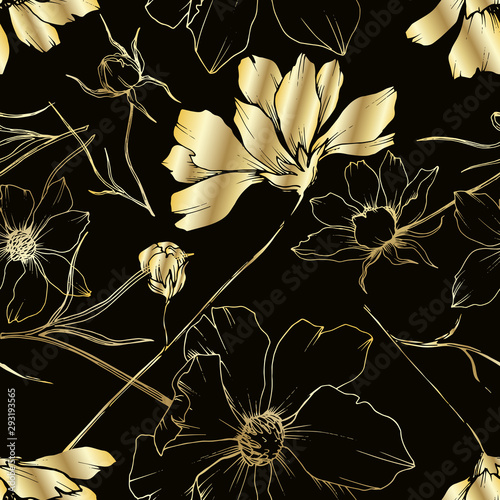 Fototapeta Vector Cosmos floral botanical flowers. Black and white engraved ink art. Seamless background pattern. obraz