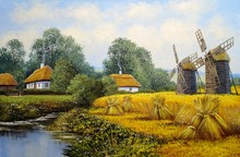 Oil Paintings, Old Village, Rural Landscape With Windmill. Fine Art, Artwork.