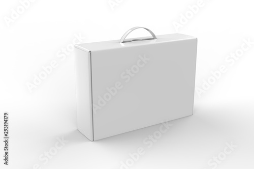 Vászonkép Blank cardboard box with plastic handle for branding and mock up