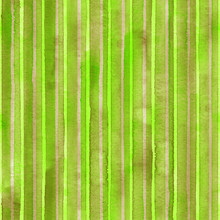 Watercolor Colorful Stripes Background. Green Yellow Striped Seamless Pattern