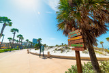 Wooden direction and distance signs in beautiful Clearwater seafront