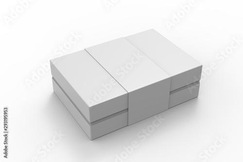 Vászonkép Blank neck box with paper ribbon label. 3d render illustration.