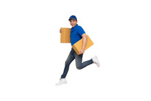 Energetic Young Asian Delivery Man Jumping And Holding Boxes Isolated On White Background, Deliveryman With Parcel Post Box And Fast Shipping Concept