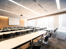 Big Empty Modern Meeting, Presentation Screen Board Seminar Room Interior Seat Row,Conference Room For Business Training, Large Windows Outside Building City