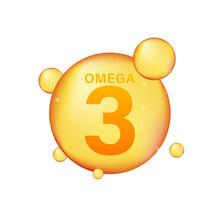 Omega 3 Gold Icon. Vitamin Dro...