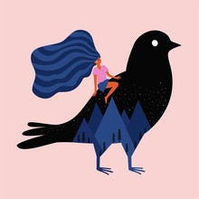Vector Illustration With Girl Riding On Huge Black Bird With Stars, Mountains And Pine Trees.