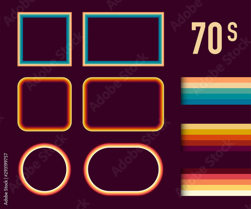1970s Style Museum Picture Frames Vector Set Wallpaper Mural