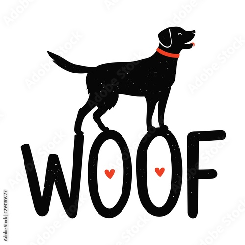Vector illustration with dog, red hearts and lettering word Woof Wallpaper Mural