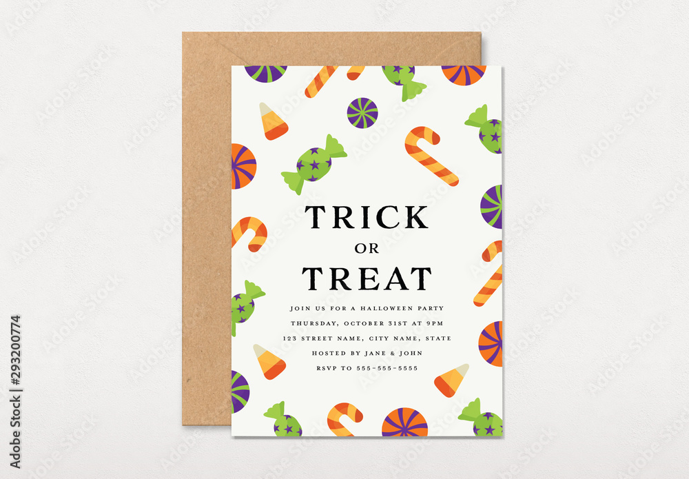 Fototapety, obrazy: Graphic Kids Trick or Treat Party Invitation Layout
