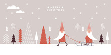 Horizontal Banner, Christmas Card, Seasons Greetings, Cute Gnomes In Red Hats Sledding