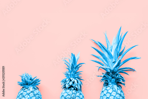 Creatively toned pineapples at the coral solid drop with place for text. Trendy modern duotone background. Horizontal