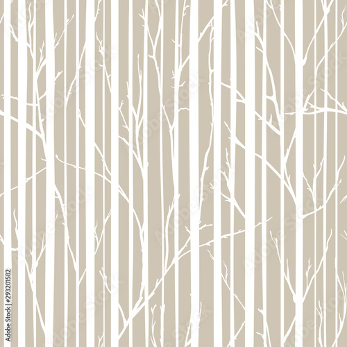 obraz PCV Branches of trees intertwine. Seamless pattern natural theme. Branches and stripes pattern