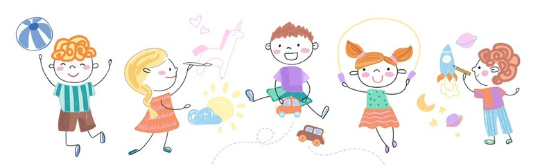 Happy children doing different activities. Set of colorful vector illustrations
