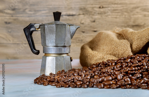 Valokuva Black coffee beans of coffee maker, espresso machine