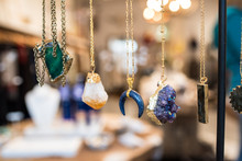 Necklaces Hanging In A Jewelry Store