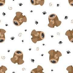 Seamless pattern with cute dog. Vector illustration.