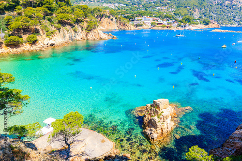 Rock in sea on beautiful Aiguablava beach, Costa Brava, Catalonia, Spain Canvas