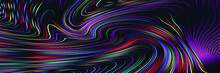 Abstract Iridescent Geometric Pattern With Waves. Colorful Striped Texture.