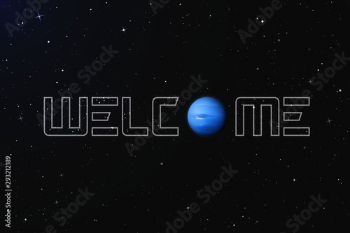 Photo Vector illustration with planet Neptune in outer space