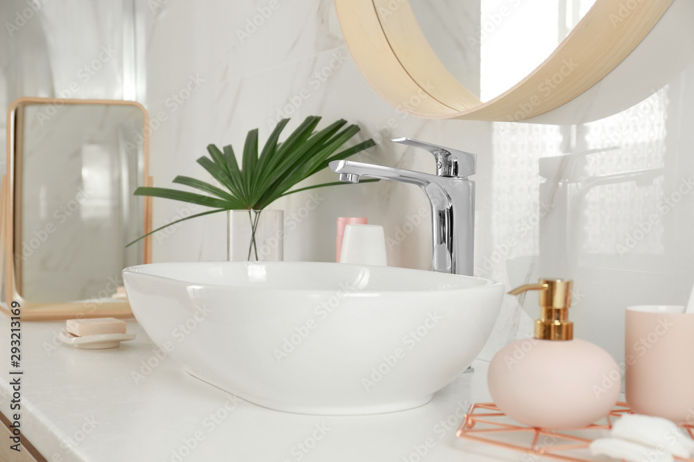 Fototapety, obrazy: Stylish bathroom interior with vessel sink and decor elements