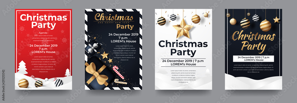 Fototapeta Set of Merry Christmas and Happy New Year Party for Flyer, Banner, Social Media , etc