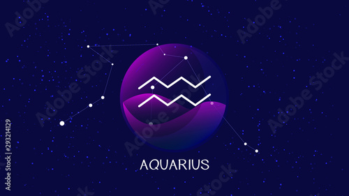 Aquarius sign, zodiac background Wallpaper Mural