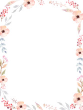 Floral Frame Of Cute Watercolo...