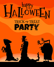 Halloween Holiday Cartoon Design With Monsters