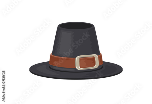 Fotografía  Pilgrim hat isolated on a white background