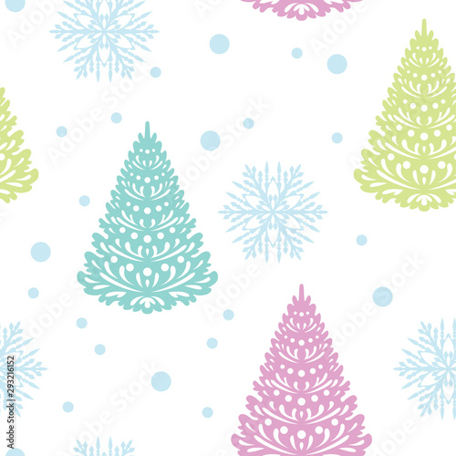 Christmas Seamless Pattern Cute Christmas Trees And Snowflakes Isolated On White Background Vector Illustration Of Christmas Decoration In Cartoon Simple Flat Style Buy This Stock Vector And Explore Similar Vectors At Download 2,504 cartoon christmas tree free vectors. adobe stock