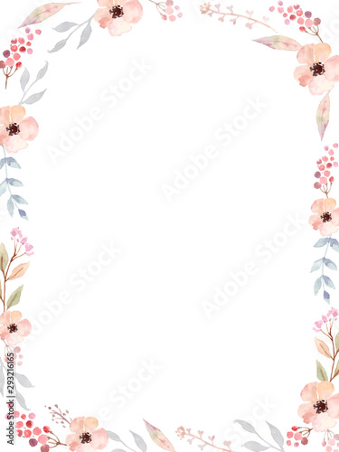 Floral Frame of cute watercolor retro flowers. Slika na platnu