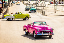 Old Vintage Retro Cars On The Road In The Center Of Havana, Cuba